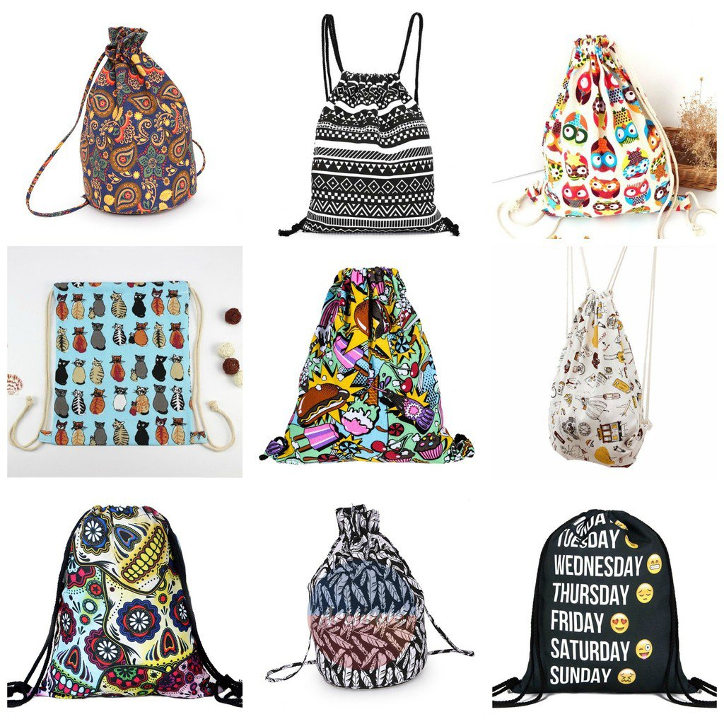 Canvas Poly Drawstring Cinch Sack Sport Beach Travel Outdoor Backpack Bags