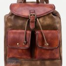 Stylish Vintage Classic Brown Leather Bag Travel School Drawstring Book Backpack