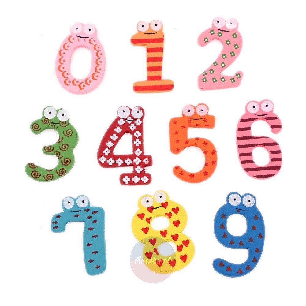 10 pcs Wooden Fridge Magnet 0-9 Number Refrigerator Learning Multicolor Toys