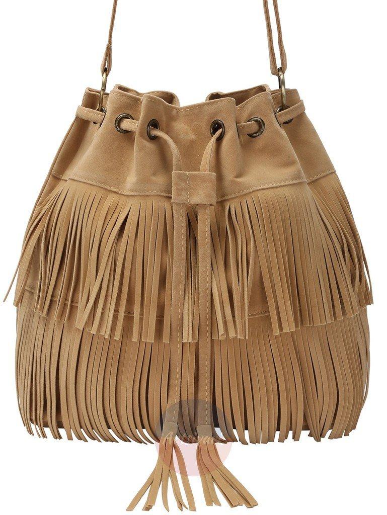 Vintage Tassel Fringe Shoulder Bag Drawstring Khaki Casual Travel Messenger Bags