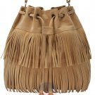 Vintage Tassel Fringe Shoulder Bag Drawstring Khaki Casual Travel Messenger Bags