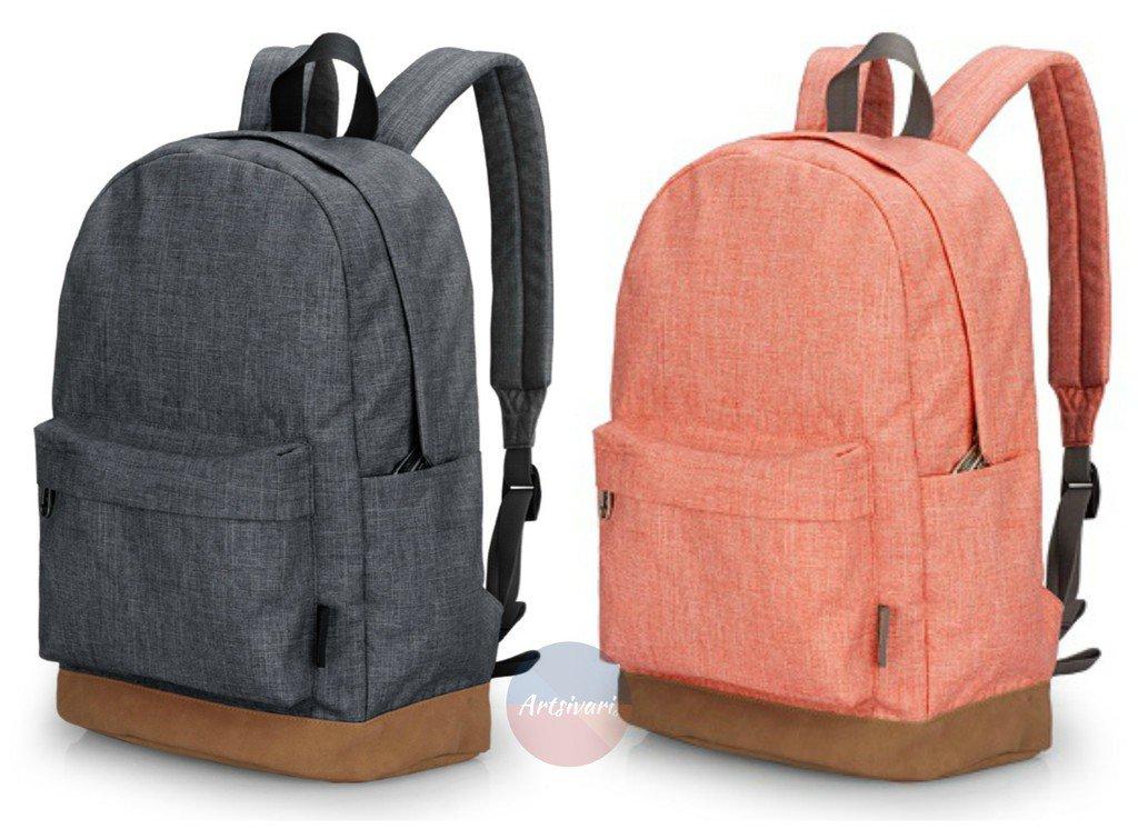 "Stylish Men Women Canvas Backpack School College 14"" Laptop Rucksack Travel Bag"