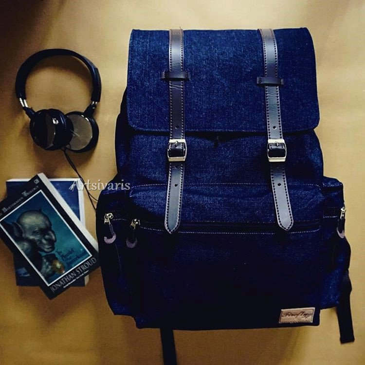 "Stylish Denim Waterproof 14"" Laptop Backpack Classy School Travel Macbook Bag"