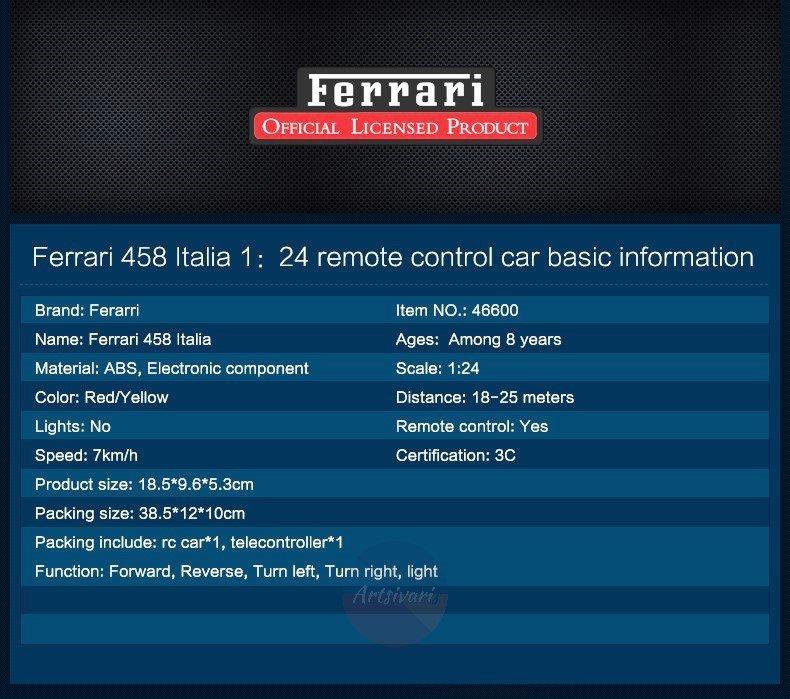 Ferrari 458 Italia Sports Car Scale 1:24 RC Model Remote Control Licensed Toys