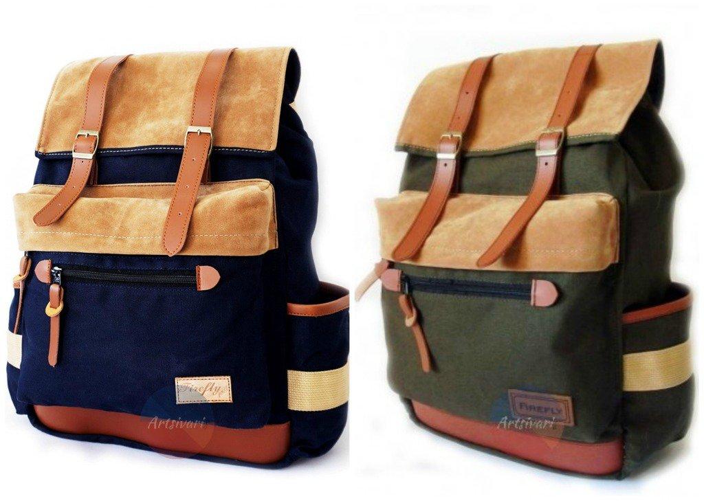 "Stylish Vintage Canvas Backpack 14"" Laptop Satchel Travel Hiking School Book Bag"