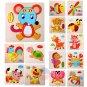 NEW Wooden Blocks Animals Cartoon Puzzle Kids Baby Educational Vocabulary Toys