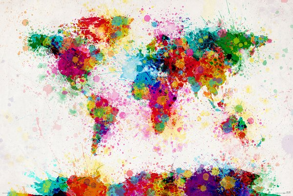MAP OF THE WORLD - PAINT DROP WORLD MAP POSTER