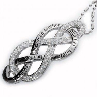Large Double Infinity Love Symbol Cz Stone;  Mother and Children Pendant