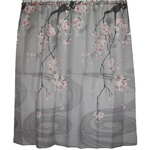 Hawaiian Fabric Shower Curtain; Cherry Blossom Flower