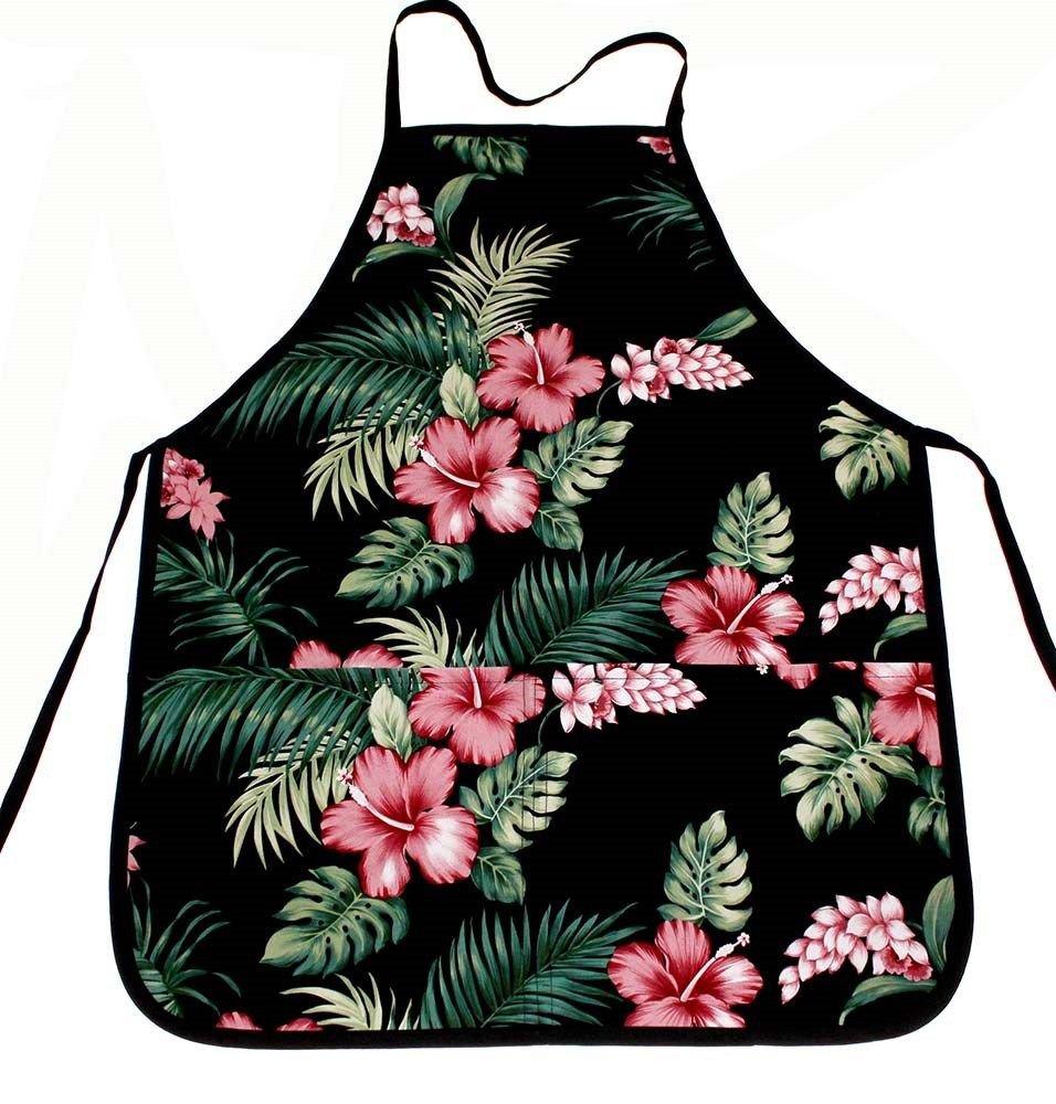 Hawaii Print Aprons - Black Hibiscus Flower