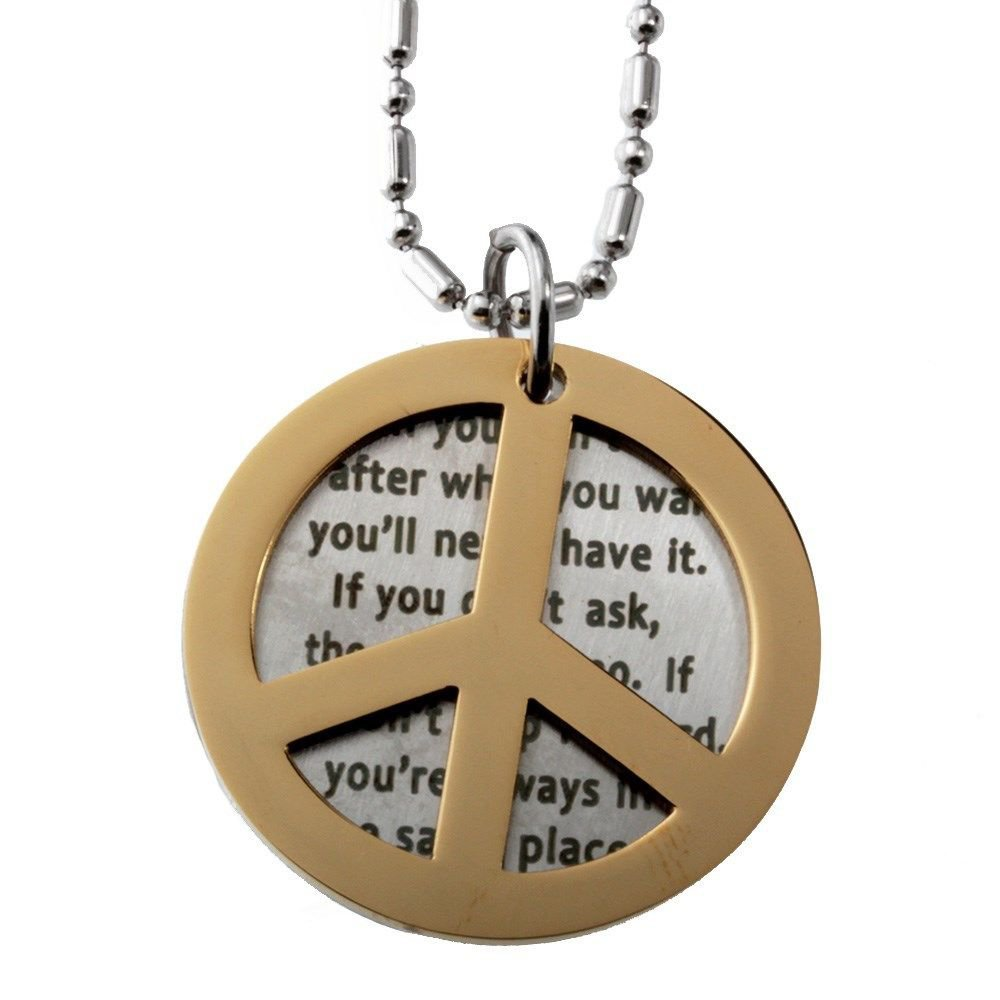 Peace Symbol and Inspirational Motivational Quotes Double Round Tag Pendant