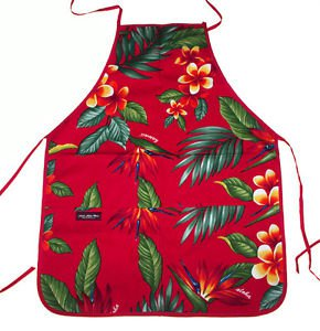 Hawaii Print Aprons - Red plumeria Flower