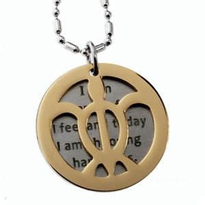 Double Round Tag Sea Turtle and Inspirational Message Pendant, Great Advice