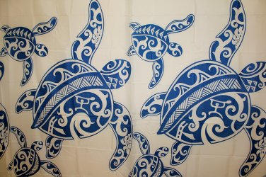 Hawaiian 100% Polyester Fabric Shower Curtain; Blue Sea Turtle