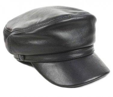 New Men's (Unisex) 100% Genuine Leather Police Hat� Newsboy caps �Navy hat