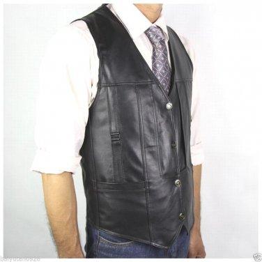 New Mens 100% Genuine Leather Black Vest,Motorcycle Driver Vest