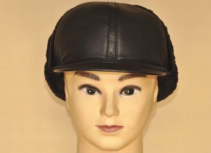 New Men's 100% Real Sheepskin leather Winter Warm Cap / Russian style hat