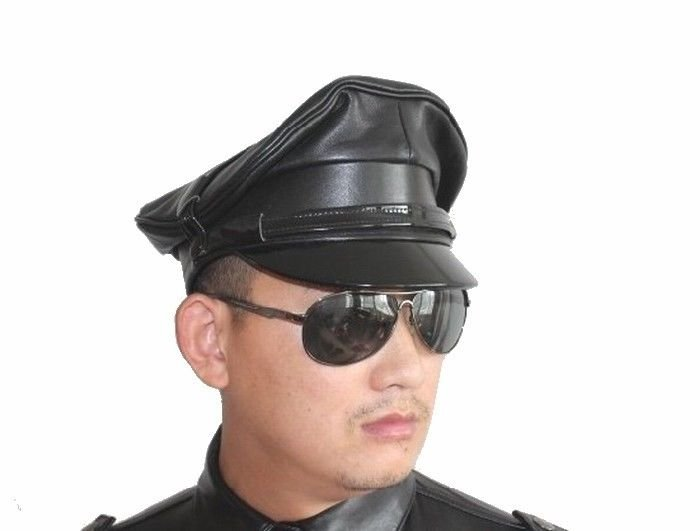 New Men's Police Style 100% Real Goatskin Leather Black Hat