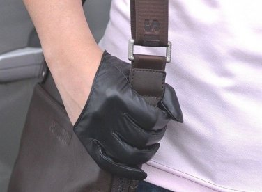 New Men's 100%Genuine Leather Punk Rock Semi-palm Gloves / Police Driving Gloves