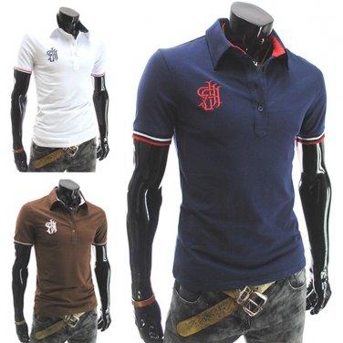 HOT! New Fashion Men's Personality Lapel T-shirt *3 Color