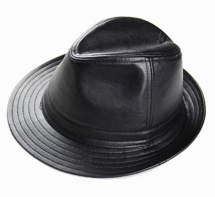 New Men's 100% Genuine Leather Black Top Hat / Gentleman Hat / Topper CA