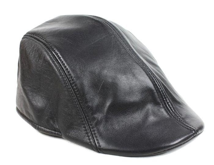 Men's Black Real Leather Fashion Newsboy Ivy Cabbie cap Gatsby Flat Golf Hat