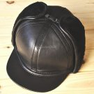 Men's 100% Real Leather Black Protect Ear Hat/ Dual style hat