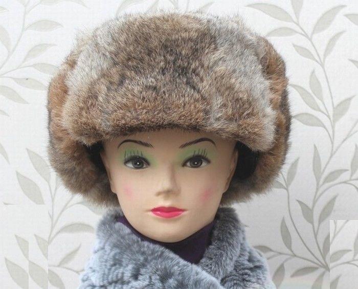 New Men's/Women's 100% Real Rabbit Fur Warm Hat/Russian Bombers Guard Cheek Hat