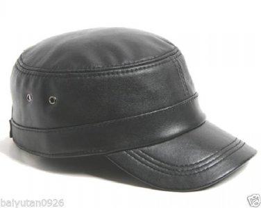 New 100% Genuine Leather Military Cap ,Baseball Hats U