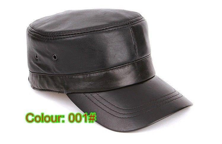 New fashion Men's 100% Real leather Cadet Military hat/ navy cap/ baseball cap
