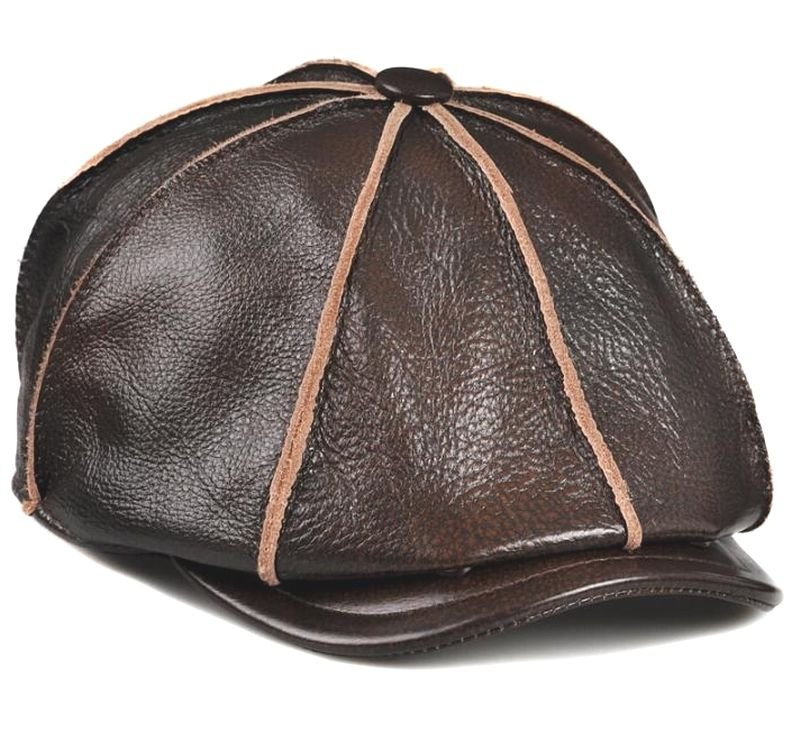 High-grade first layer Black Brown Cowhide Leather Newsboy Cabbie cap Golf Hat