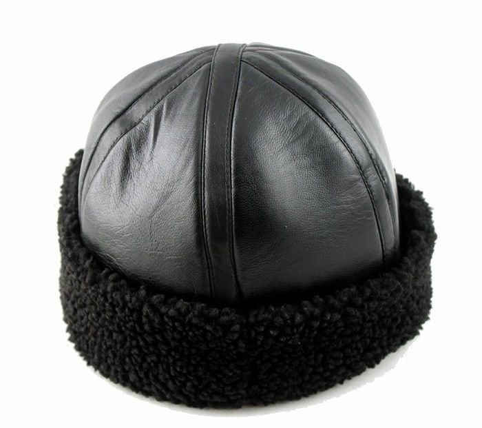 New style Men's Real Sheepskin Leather Warm winter hat / Cabbie cap