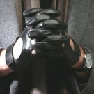 Black leather gloves, driving gloves. Motorcycle gloves