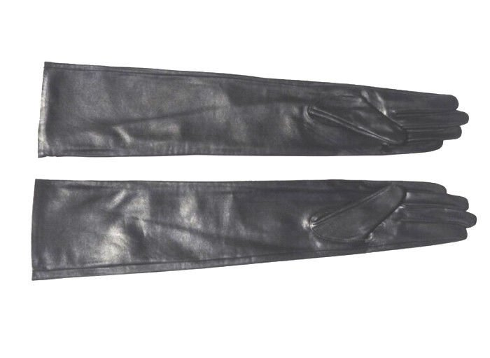 "75cm(29.5"") Super Long Style Black Sheepskin Leather Evening Gloves Opera Gloves"