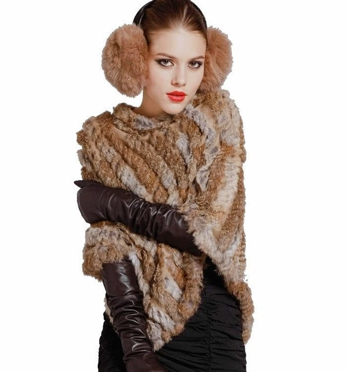 Real Rabbit Fur Wrap Shawl Scarf Cape Poncho Scarf Outwear Vest