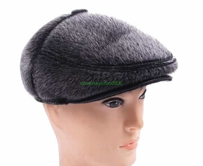 New models Men's ( Faux seals fur+Real leather )  Cabbie Hat Newsboy Warm Beret