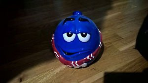 M&M Collectibles Blue Ceramic Candy or Cookie Jar With Red and White Scarf