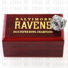 Year 2012 Baltimore Ravens Super Bowl Championship Ring 10-13Size With High Quality Wooden Box