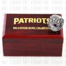 Year 2014 New England Patriots Super Bowl Championship Ring 10-13Size  With High Quality Wooden Box