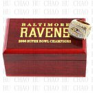 Year 2000 Baltimore Ravens Super Bowl Championship Ring 10-13Size  With High Quality Wooden Box