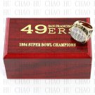 Year 1994 San Francisco 49ers Super Bowl Championship Ring 10-13Size  With High Quality Wooden Box