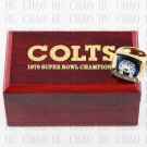 Year 1970 Baltimore Colts Super Bowl Championship Ring 10-13Size With High Quality Wooden Box