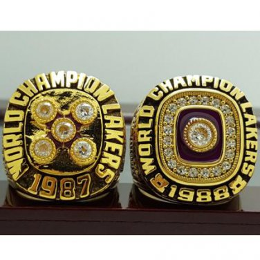 One Set 2 PCS 1987 1988 Los Angeles Lakers National Basketball Championship Ring 7-15 Size