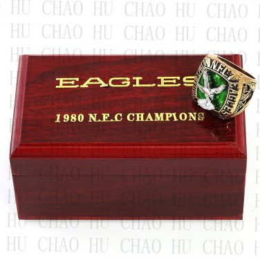 1980 NFC Philadelphia Eagles National Football Championship Ring 10-13Size   Wooden Box