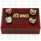 (4PCS) 1997 1998 2002 2008 Detroit Red Wings Stanley Cup Championship Ring With Wooden Box