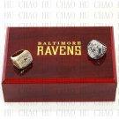 One set (2PCS) 2000 2012 Super Bowl Baltimore Ravens Championship Ring With Wooden Box Replica