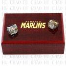 (2PCS) 1997 Miami Marlins 2003 Florida Marlins World Series Championship Ring With Wooden Box