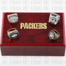 ((4PCS) 1966 1967 1996 2010 Super Bowl Green Bay Packers Championship Ring With Wooden Box