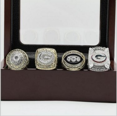 One Set 4 PCS  Green bay packers NFL Super Bowl Championship Ring 11 size with cherry wooden case