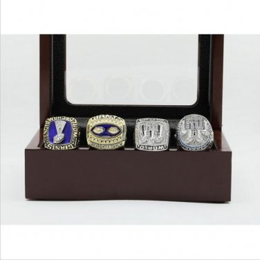 One Set (4PCS)  New York giants Super Bowl Football Championship Ring Size 11  With Wooden Box